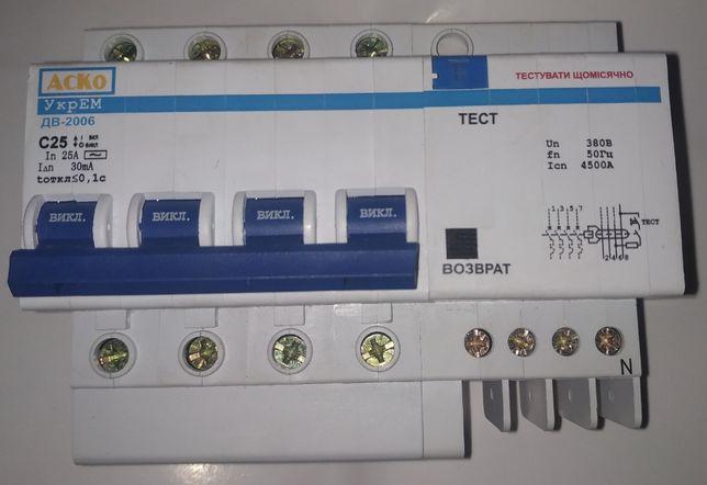 Дифавтомат ДВ-2006 4P 25А 30мА