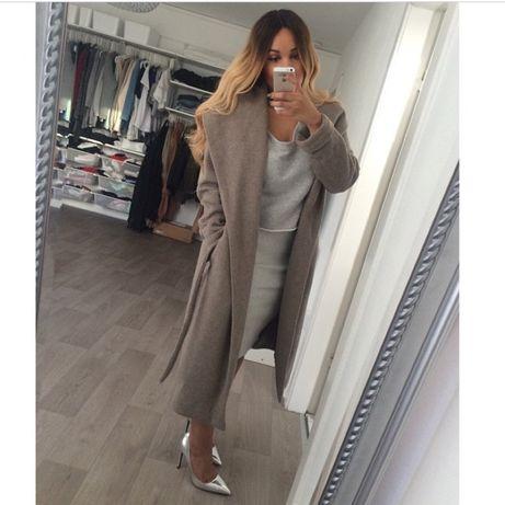 ZARA płaszcz maxi wełniany szary długi szlafrokowy wiązany L XL