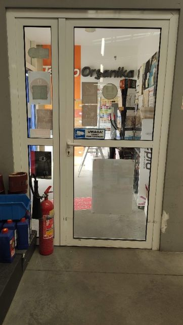Drzwi Aluminiowe sklepowe białe 1500 x 2280 mm