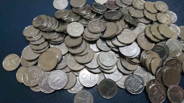 Монеты 1 и 2 копейки Украина больше 200 штук, разные года, деньги.