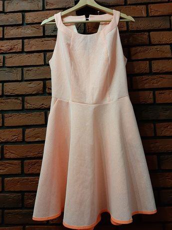 Sukienka wyjściowa neonowa kokarda wesele r. 38 40 m L