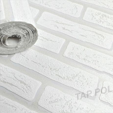 Tapeta biała szara CEGŁA MUR efekt 3D zmywalna
