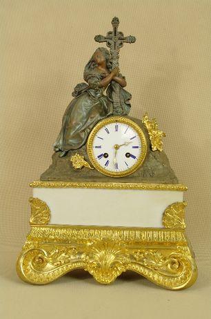 XIX w zegar stojący kominkowy Francja BRĄZ ZŁOCONY cudowny !