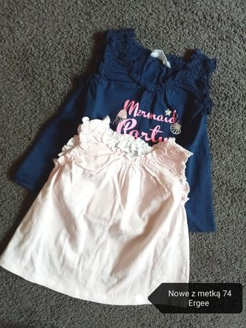 Paka ubranek dla dziewczynki 74/80 spodnie, bluzki, sukienki kurtka
