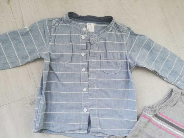 80 H&M koszula bluzka z długim rękawem lniana przewiewna stan bdb