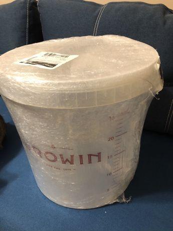 Прозрачный контейнер для брожения (вина) 30 л с крышкой и краном