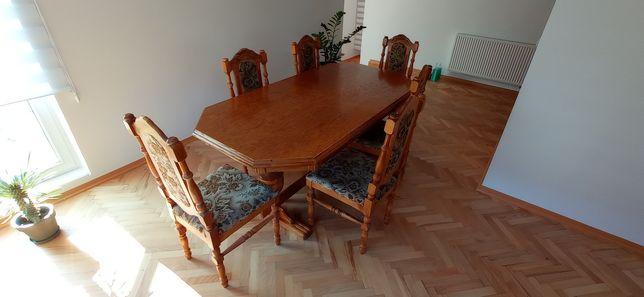 Stół z litego drewna + 6 krzeseł (komplet)
