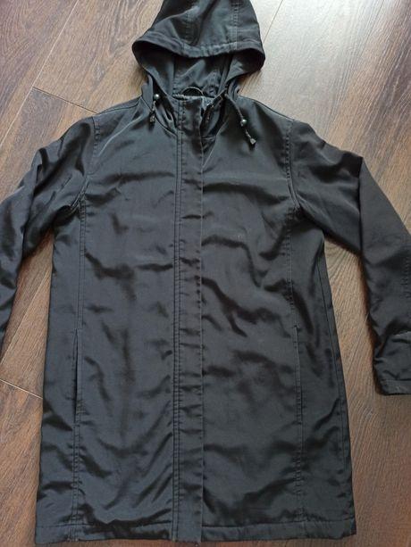 Czarna kurtka parka przeciwdeszczowa z kapturem 38 M