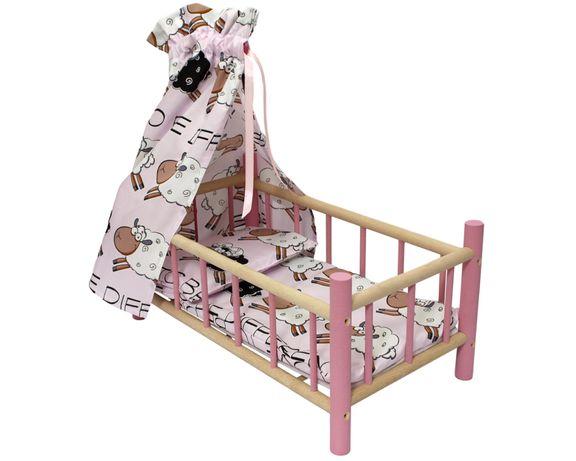 Łóżeczko dla lalek z baldachimem drewniane