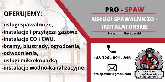 Usługi spawalnicze, instalacje gazowe, co, cwu, wodno-kanalizacyjne