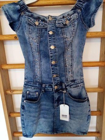jeansowa sukienka dżedami nowa roz. XS