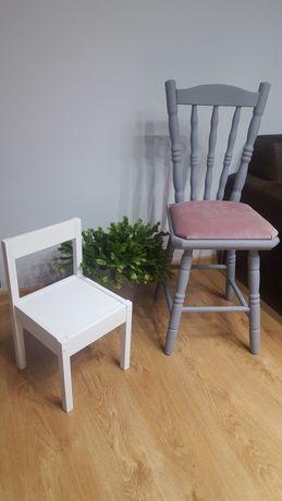 Białe krzesło drewniane dla dziecka