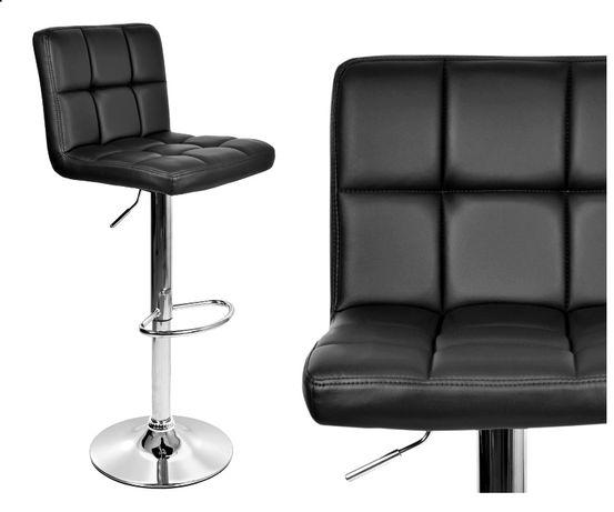 Hoker krzesło barowe obrotowe Arako czarny ekoskóra do kuchni