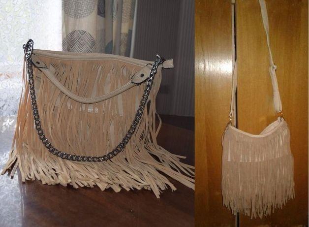 Сумка сумочка с бахромой пудра кроссбоди mango крос боди zara