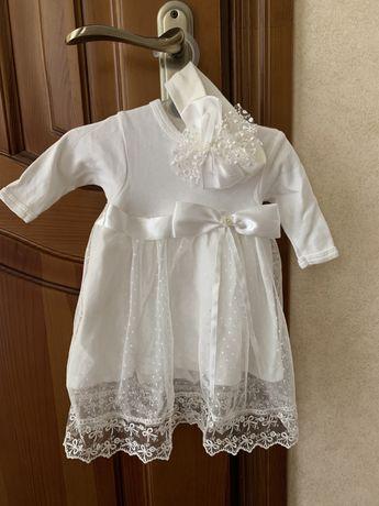 Сукня плаття новонародженої 56 платье белое новорожденной хрестин