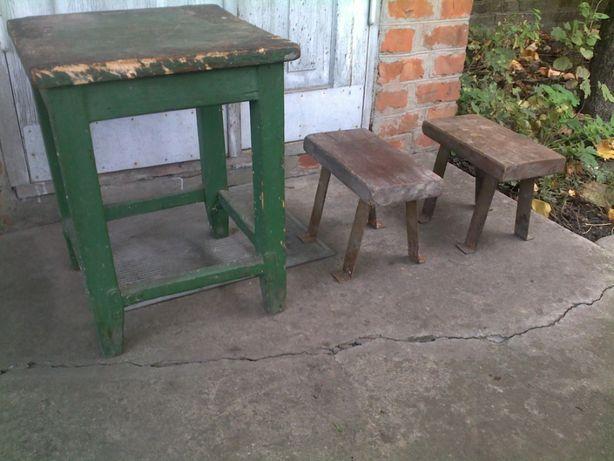 Стул стульчик табурет табуретка дерево ссср - цена за три штуки
