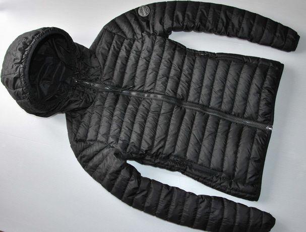 SUPERDRY kurtka damska puchowa z kapturem naturalny puch pikowana