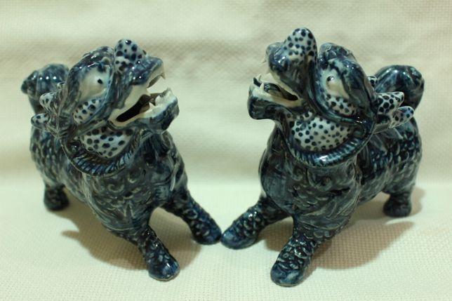 Raros Par de Leões ou Cães Foo Porcelana Chinesa XX