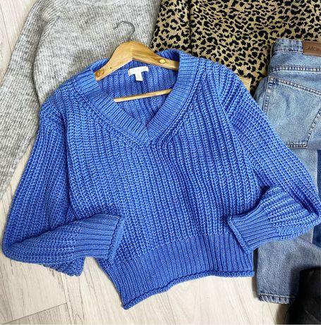 Синий свитер крупной вязки H&M