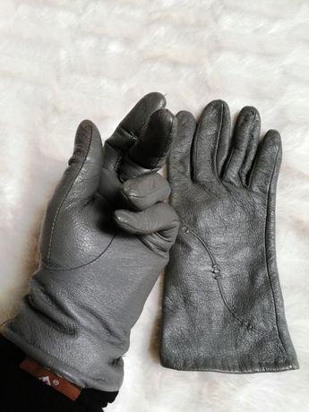 rękawiczki eko skóra szare