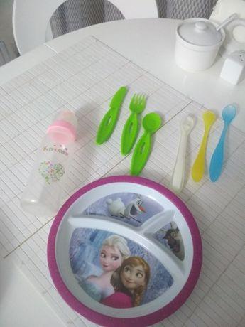 НОВЫЙ!набор детской посуды еко пластмасса пляшечка тарелка ложечка