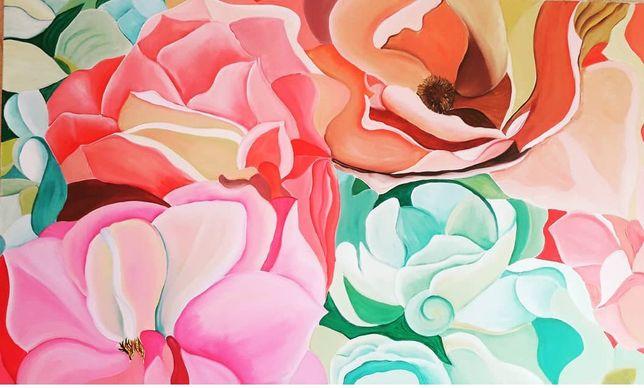 Картина маслом на холсте Пионы Цветы