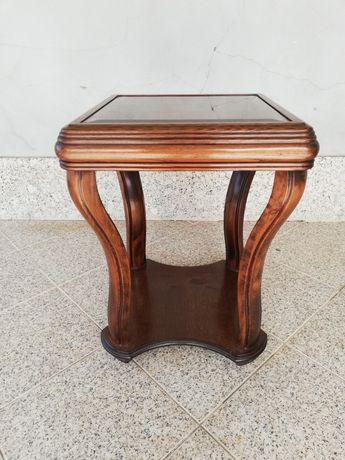 Mesa apoio vidro e madeira