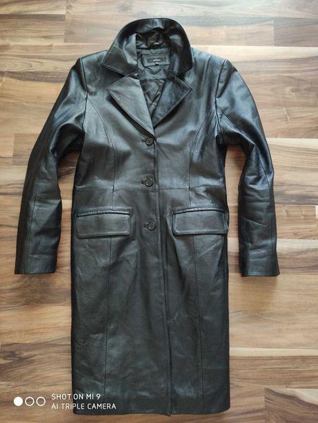 Długi zgrabny czarny płaszcz skórzany XL jak Nowy skóra naturalna