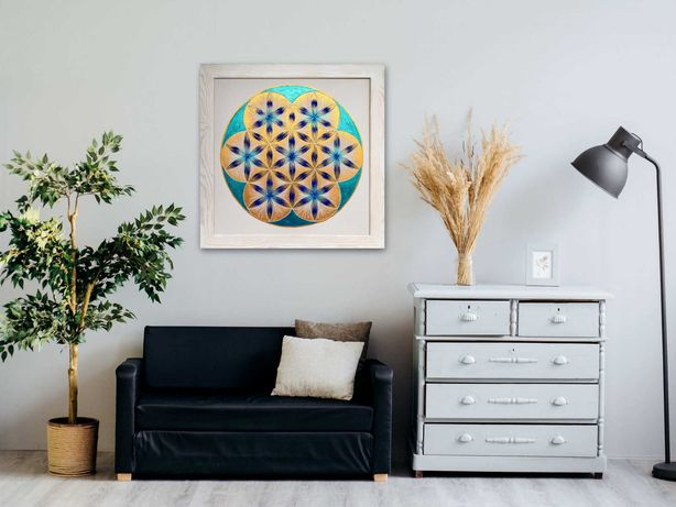 Piękna mandala niebiesko złota - 70 x 70 cm - z ramą