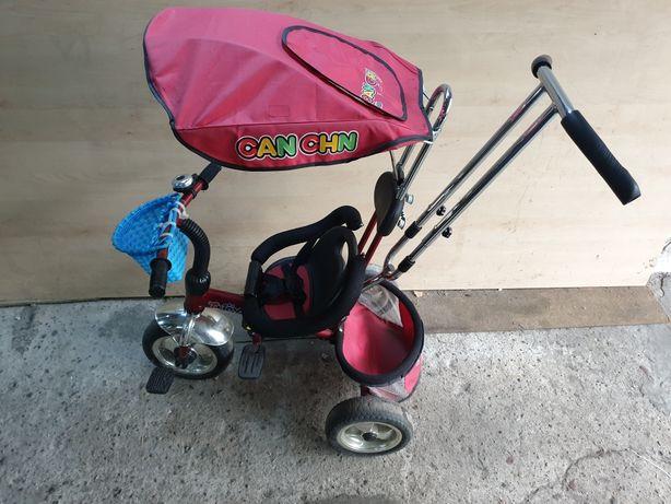 Rower dla dziecka trojkołowy wózek z daszkiem rączką do kierowania