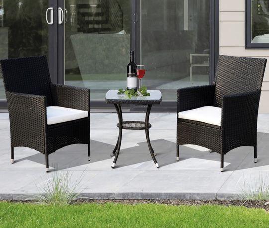 Conjunto de duas cadeiras em vime + mesa
