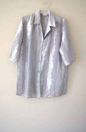 retro szara srebrna koszula bluzka z krotkim rekawem 42 XL rekawkiem L