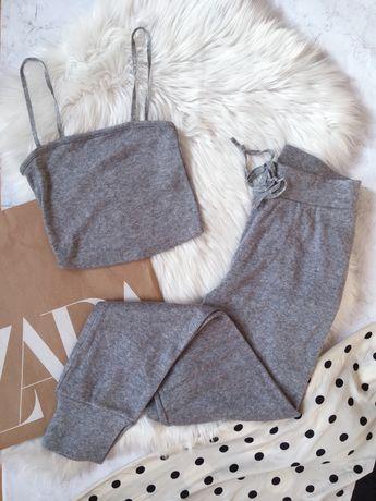Zestaw dresowy loungewear nowe Zara M S szary joggery