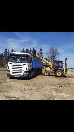 Prace ziemne , podniesienie terenu ziemia piasek wykopy