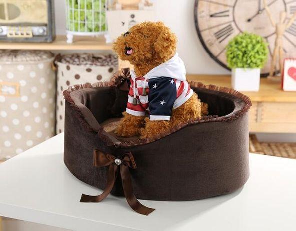 Legowisko brązowe dla małego psa york 51x42 cm