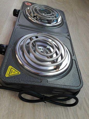 Электрическая плита электроплита двоканфорочная Domotec 2000 W