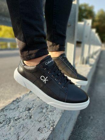 Calvin Klein (кельвин кляйн) мужские кожаные кеды кроссовки туфли