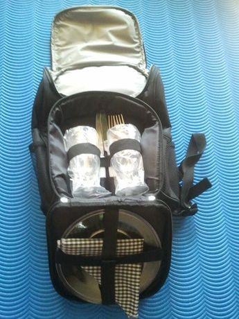Plecak termiczy/piknikowy z wyposażeniem dla 2 osób - Nowy - Okazja!!!