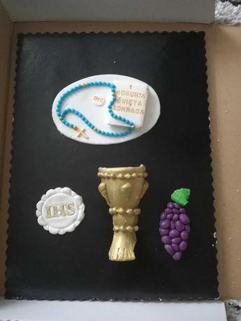 Ozdoby, dekoracja na tort z masy cukrowej KOMUNIA