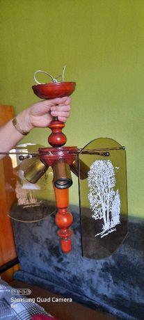 Żyrandol szkło i drewno
