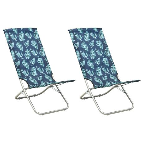 vidaXL Cadeiras de praia dobráveis 2 pcs tecido padrão de folhas 310382