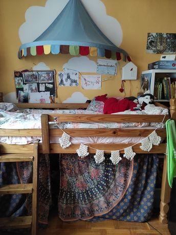 Łóżko dziecięce młodzieżowe wysokie drewniane jak kura Ikea 90x200