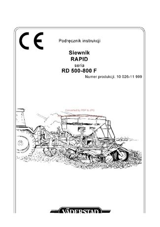 Instrukcja obsługi siewnika Nordsten Rapid 500-800F