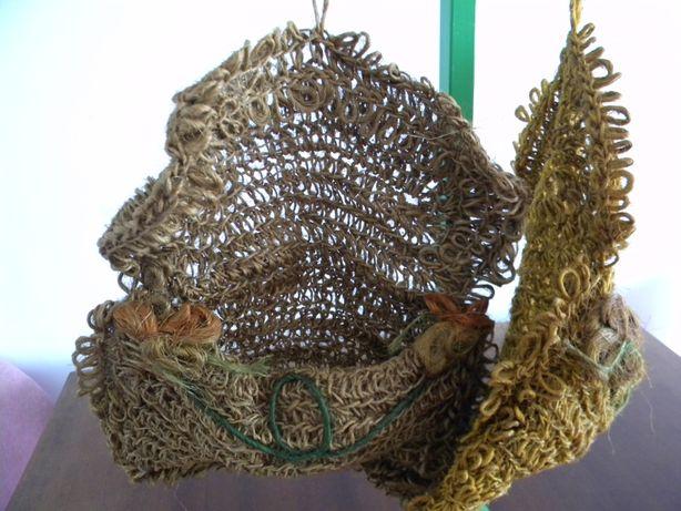 Torba na przybory, ze sznurka sizalu, makrama wisząca