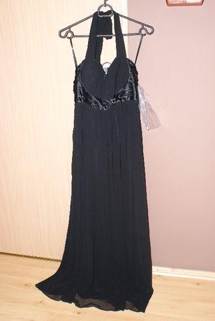 Dluga suknia wieczorowa czarna XXL 44 nowa z metka szal gratis