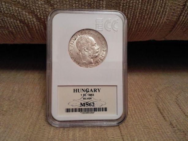 1 Floren 1883 Węgry moneta srebrna MS 62-opcja wysyłki