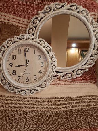 """Зеркало и часы в стиле """" прованс """""""