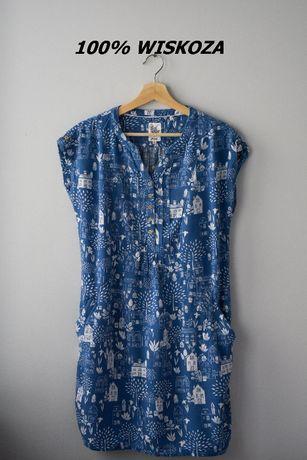 Wiskozowa sukienka tunika w domki