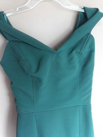 Dluga sukienka S/XS butelkowa zieleń
