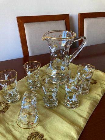 Serviço de Jarro e copos de meio cristal vintage